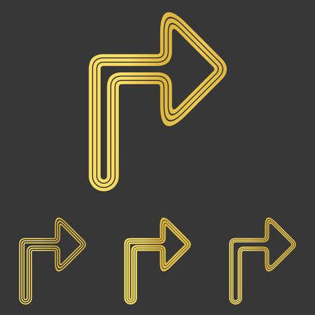 turn: Golden line turn icon  design set Illustration