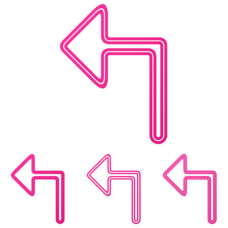 turn left: Pink turn left icon  design set Illustration