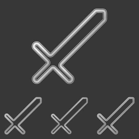 scimitar: Silver line sword icon  design set