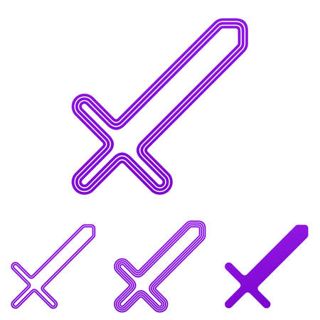 Purple line sword icon  design set