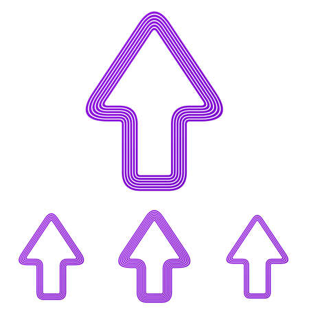 up arrow: Purple line up arrow  design set Illustration