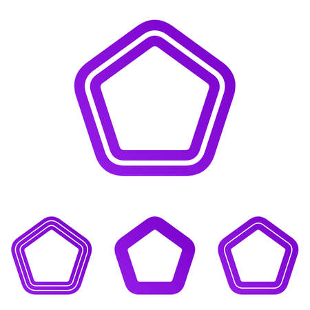pentagonal: Purple line vector pentagonal  design set Illustration