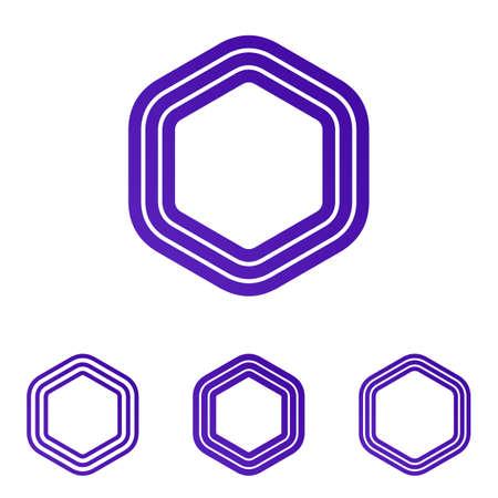 Purple line six corner  design set 向量圖像