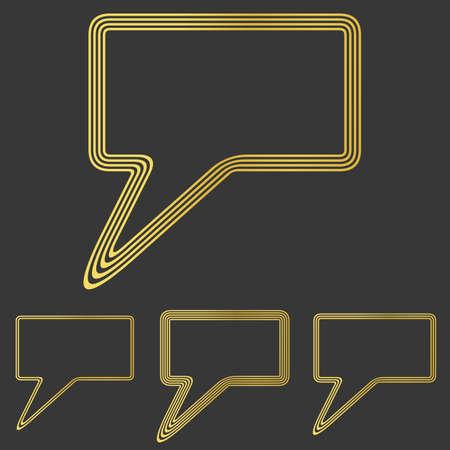 speech icon: Golden line speech icon  design set