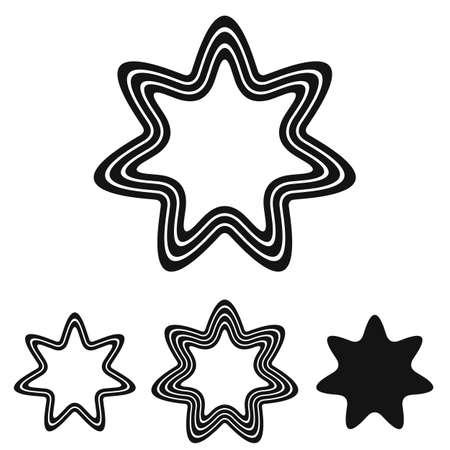 heptagon: Black line star  icon design set