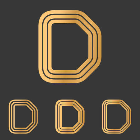 d: Bronze line letter d  design set