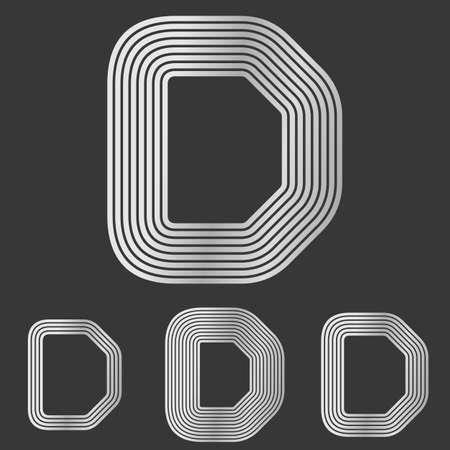 d mark: Silver line letter d  design set
