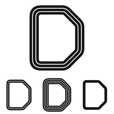 d: Black line letter d  design set Illustration