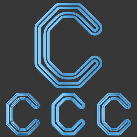 letter c: Blue line letter c  design set