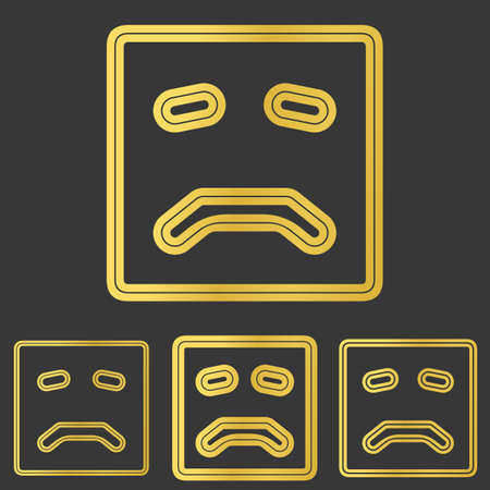 sad face: Golden sad face  icon design set Illustration