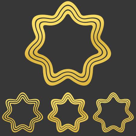heptagon: Golden line star  icon design set
