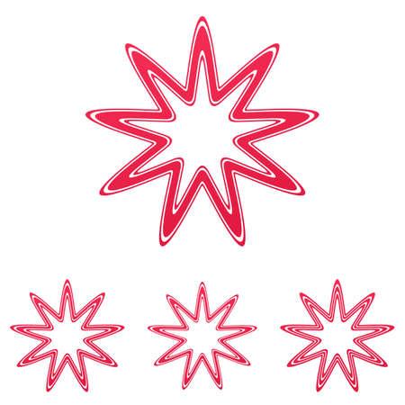 crimson: Crimson line star  icon design set