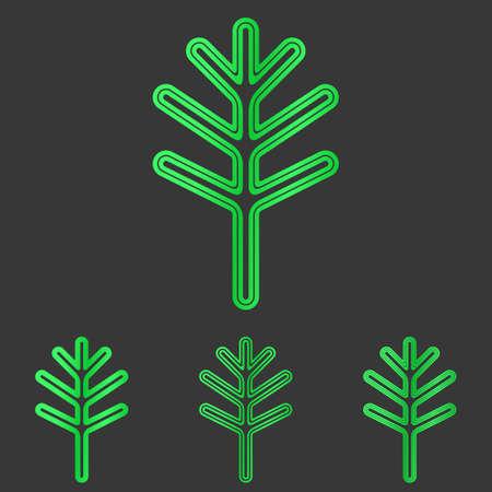 green line: Green line plant  icon design set