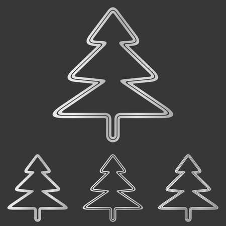 albero pino: Silver line pine tree  design set
