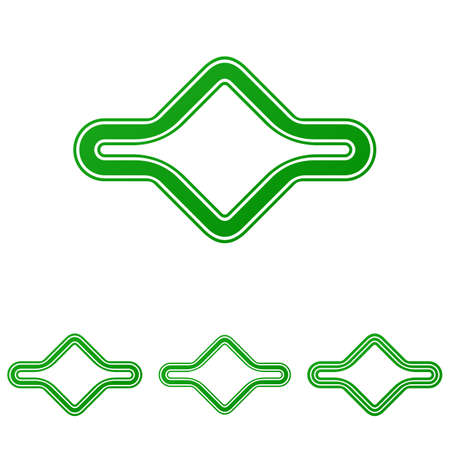 bucle: Green abstract line loop  design set Vectores