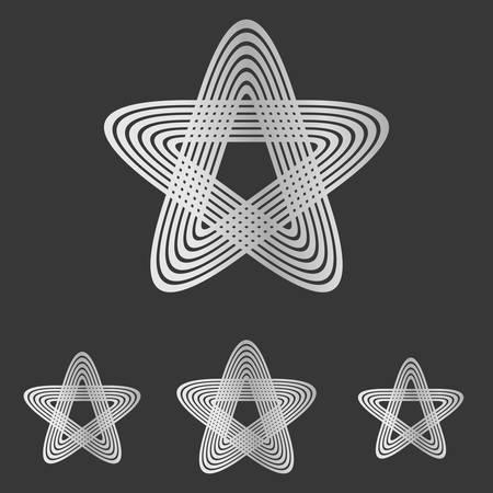 bucle: Star Line dise�o conjunto de bucle de plata Vectores