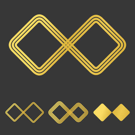 infinite loop: Golden line infinity icon  design set