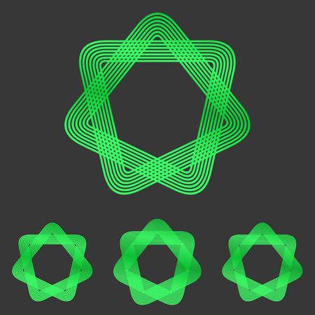 heptagon: Metallic green line star  design set