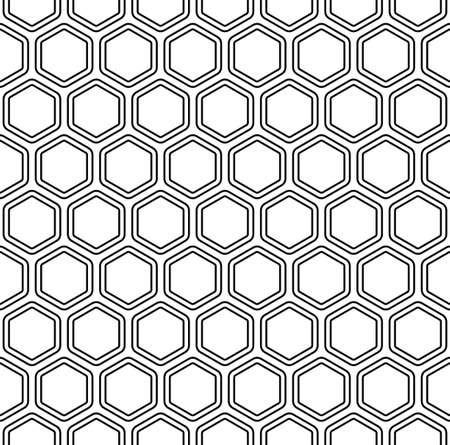 Seamless black and white abstract hexagon pattern background Illustration