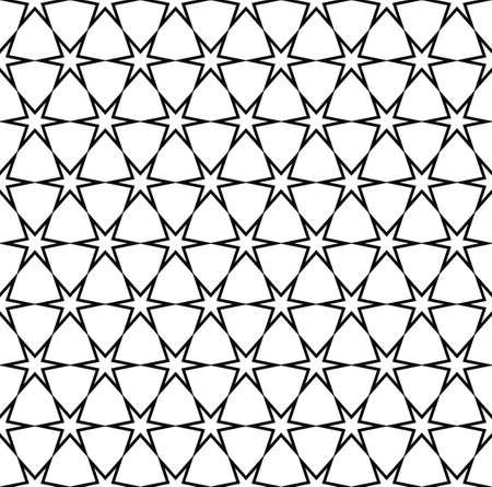 hexa: Seamless black white hexagonal vector star pattern design background