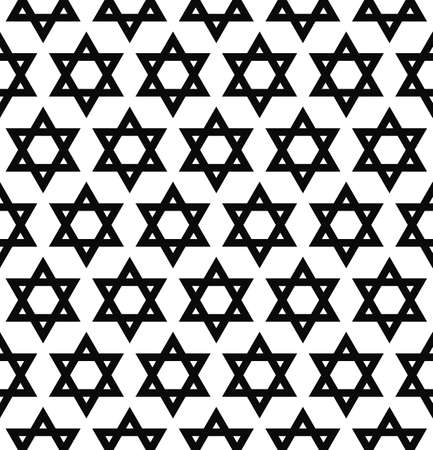 repeat: Repeat monochrome hexagonal vector hexagram pattern background Illustration