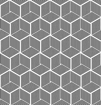 hexa: Seamless abstract hexagonal line cube pattern design Illustration