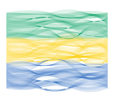 undulating: Wave line flag vector design of Gabon