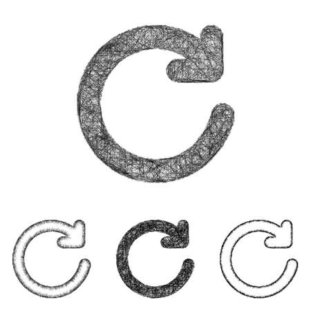 refresh icon: Refresh icon design set - sketch line art Illustration