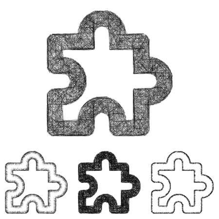 puzzle icon: Puzzle icon design set - sketch line art
