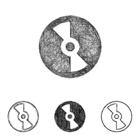 compact disc: Compact disc icon design set - sketch line art Illustration