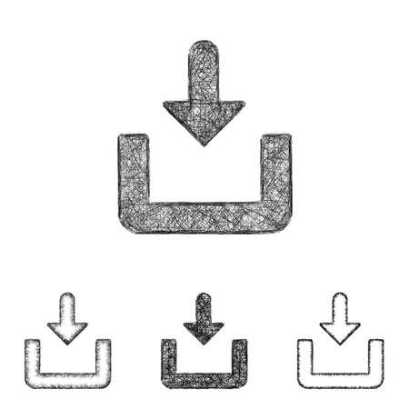 download icon: Download icon design set - sketch line art Illustration