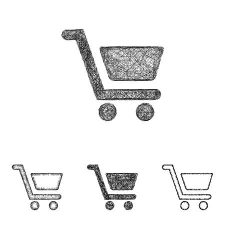 cart icon: Shopping cart icon design set - sketch line art Illustration