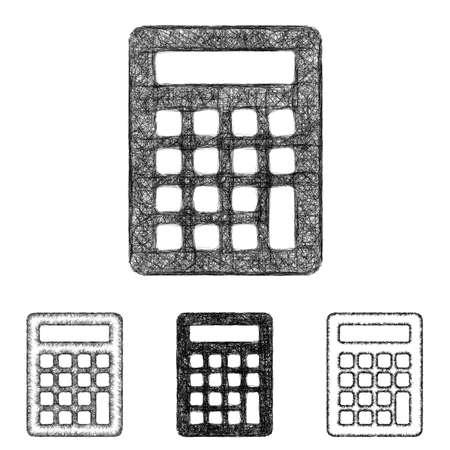 calculator icon: Calculator icon design set - sketch line art Illustration