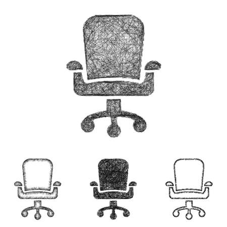 ceo: Swivel chair icon design set - sketch line art Illustration