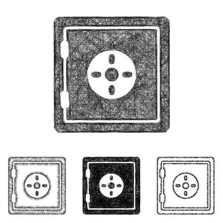 caja fuerte: Caja de seguridad conjunto de iconos de diseño - arte línea de boceto