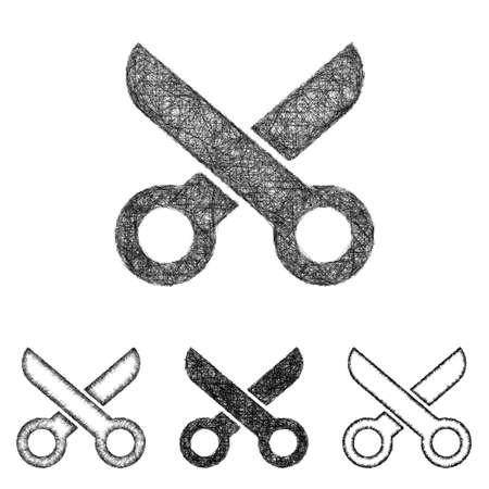hairstyling: Scissor icon design set - sketch line art Illustration