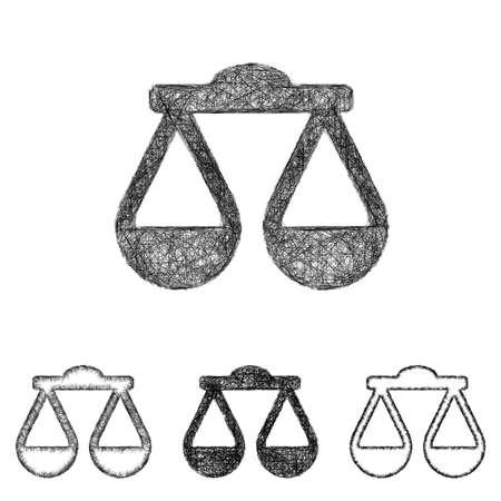 scale icon: Scale icon design set - sketch line art
