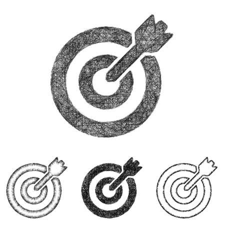 dart on target: Target icon design set - sketch line art