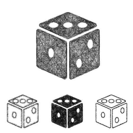 die line: Dice icon design set - sketch line art