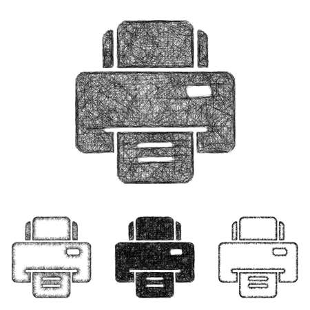 inkjet: Printer icon design set - sketch line art Illustration
