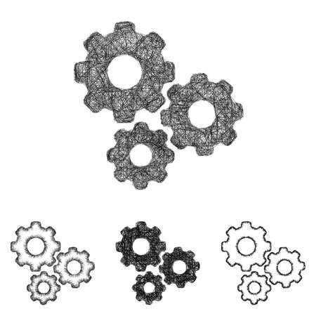 gear icon: Gear icon design set - sketch line art
