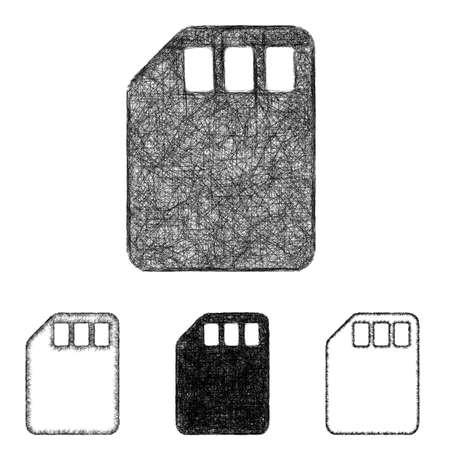 memory card: Memory card icon design set - sketch line art