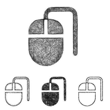 mouse icon: Mouse icon design set - sketch line art Illustration