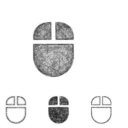 mouse icon: Wireless mouse icon design set - sketch line art