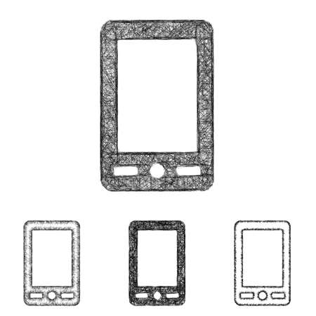 cellphone: Cellphone icon design set - sketch line art Illustration