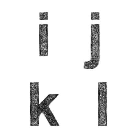 letter l: Sketch font design set - lowercase letters i, j, k, l
