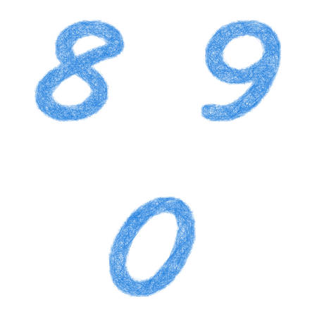 8 9: Sketch font design set - numbers 8, 9, 0 Illustration