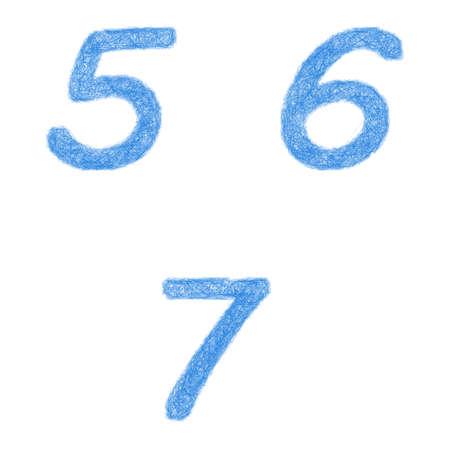 5 6: Sketch font design set - numbers 5, 6, 7
