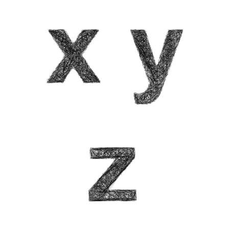 lowercase: Sketch font design set - lowercase letters x, y, z
