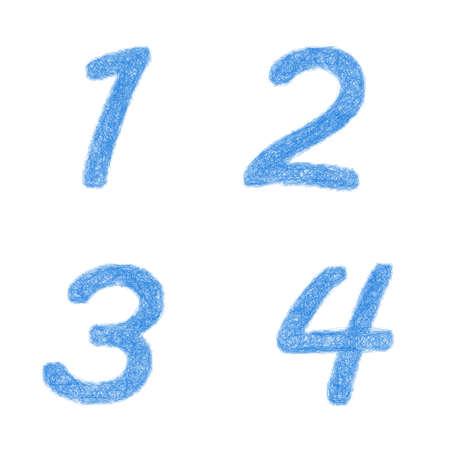 Sketch font design set - numbers 1, 2, 3, 4